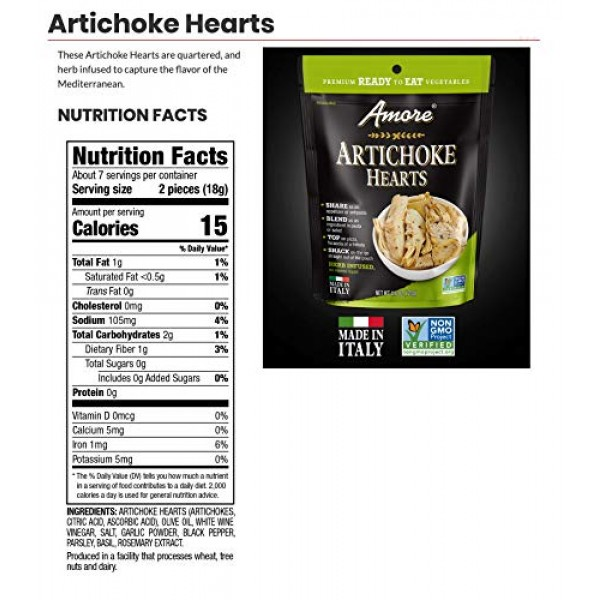 Amore Ready-to-Eat Herb Infused Vegetables, 4.4 oz. Resealable B...