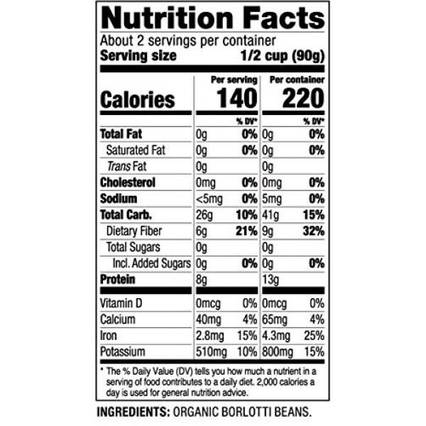 Amore Ready-To-Eat Organic Beans, 4.9 Oz Bag, 8 Pack 71082, Ga...