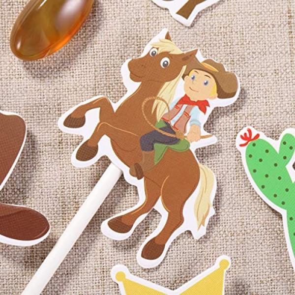 Amosfun 72PCS Cowboy Cupcake Toppers Western Theme Cake Topper C...