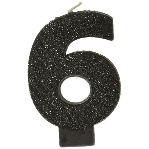 Amscan Birthday Celebration, Numeral #6 Glitter Candle, Party Su...