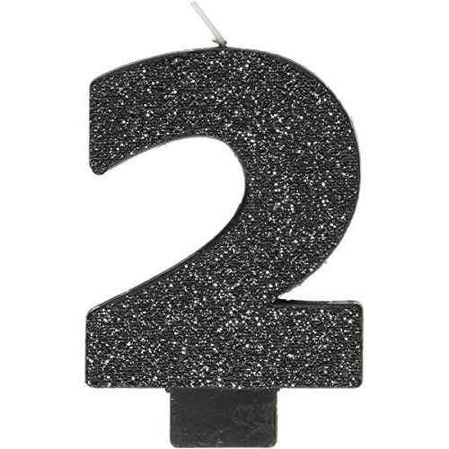 Amscan Black #2 Birthday Glitter Numeral Candle Childrens Party...