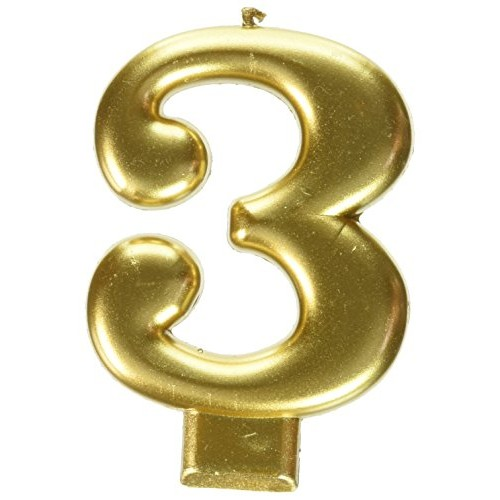 Amscan Birthday Celebration, Numeral #3 Metallic Candle, Party S...