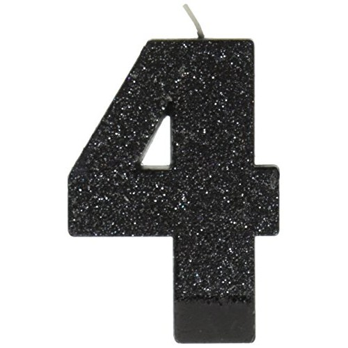 Amscan Birthday Celebration, Numeral #4 Glitter Candle, Party Su...
