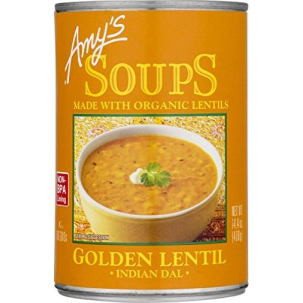 Amys Soups, Organic Indian Golden Lentil Soup, 14.4 Ounce