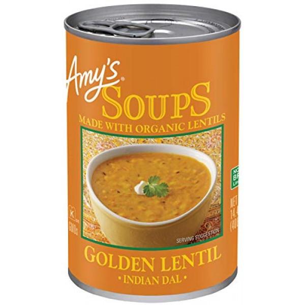 Amys Organic Soups, Golden Lentil, 14.4 Ounce Pack of 12