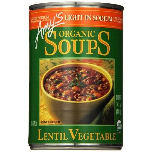 Amys Light in Sodium Organic Soups, Lentil Vegetable, 14.5 Ounc...