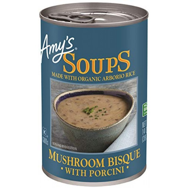 Amys Mushroom Bisque with Porcini Soup, Gluten Free, 14-Oz - 12...