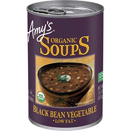 Amys Organic Black Bean Vegetable Soup, Low Fat, Vegan, 14.5-Ou...