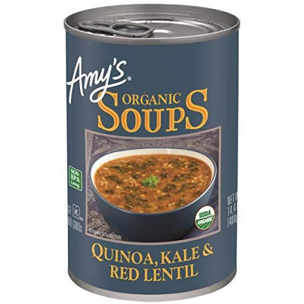 Amys Soups, Organic Quinoa, Kale & Red Lentil Soup, 14.4 Ounce