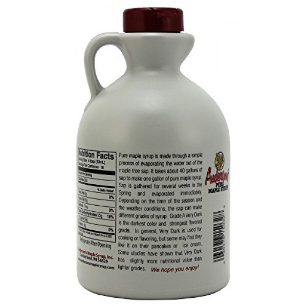 Andersons Pure Maple Syrup, Grade A Very Dark/Grade B, 32 Ounce...