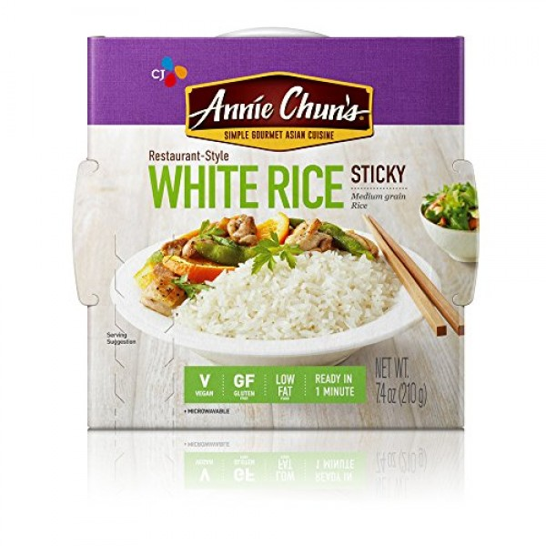 Annie Chuns Cooked White Sticky Rice, Gluten-Free, Vegan, Low F...