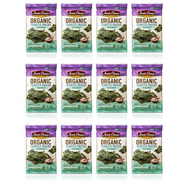 Annie Chuns Organic Seaweed Snacks, Sea Salt, 0.16 oz Pack of 12