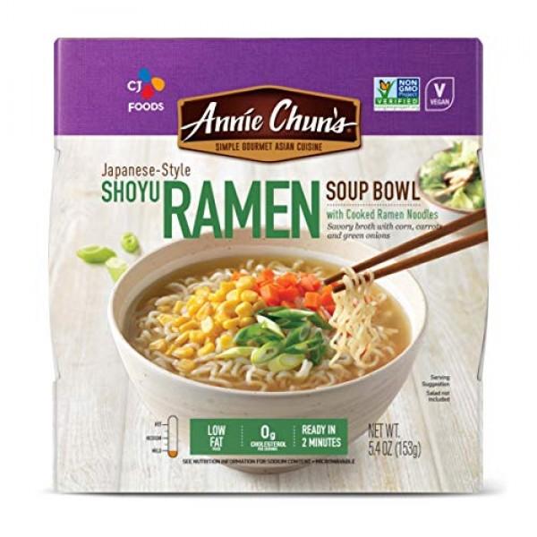 Annie Chuns Shoyu Ramen Bowl With Cooked Ramen Noodles, Japanes...