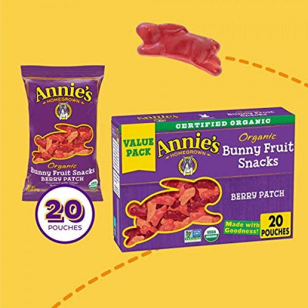 Annies Organic Berry Patch Bunny Fruit Snacks, Gluten Free 20 ...