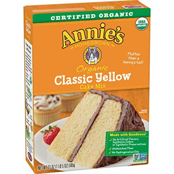 Annies Organic Cake Baking Mix, Yellow, 21 Ounce Pack of 8