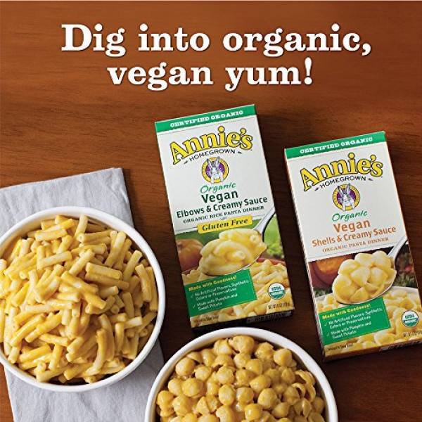 Annies Organic Vegan Gluten-Free Elbows & Creamy Sauce Macaroni...