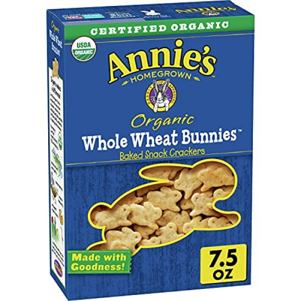 Annies Whole Wheat Bunnies, Baked Snack Crackers, 7.5 oz Pack ...