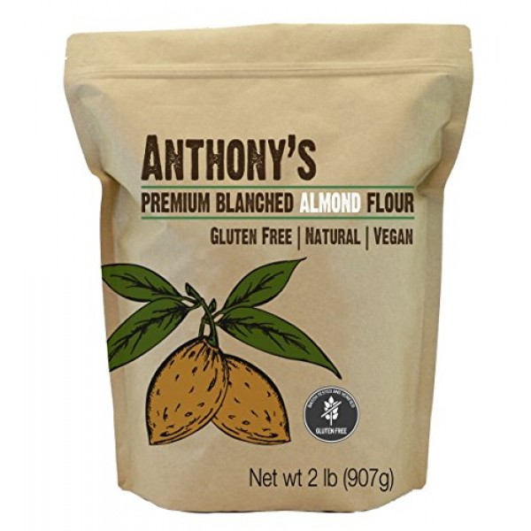 Anthonys Almond Flour Blanched, 2 lb, Batch Tested Gluten Free,...