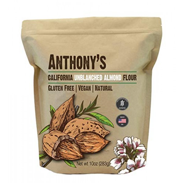 Anthonys Almond Meal Flour, Natural Unblanched, 10oz, Batch Tes...