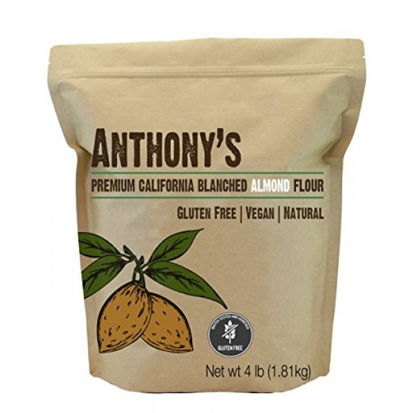 Anthonys Blanched Gluten Free Almond Flour, 4 lb, Gluten Free &...
