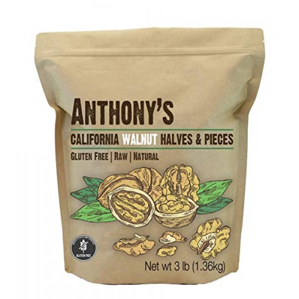 Anthonys California Walnut Halves & Pieces, 3 lb, Shelled, Raw,...