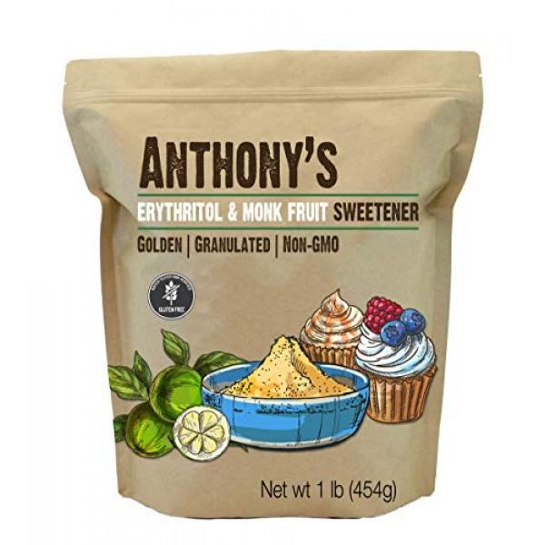 Anthonys Erythritol and Monk Fruit Sweetener Golden, 1 lb, Gran...