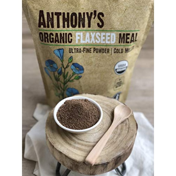 Anthonys Organic Flaxseed Meal, 2.5lb, Gluten Free, Ground Ultr...