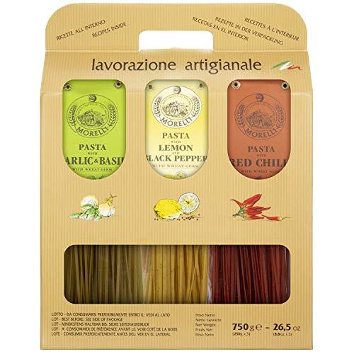 Morelli Pasta Tricolor Linguine Trio Set - 3 Flavors of Imported...