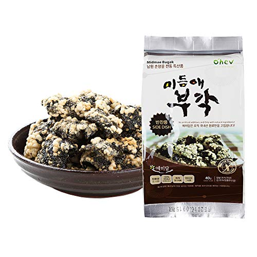 Seaweed Sweet Rice Crisps Crunch Bites Korean Snack for Side Dis...