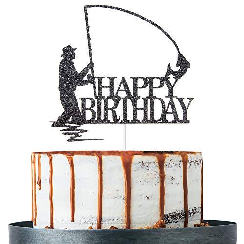 Black Glitter Happy Birthday Cake Topper, Birthday Party Decorat...