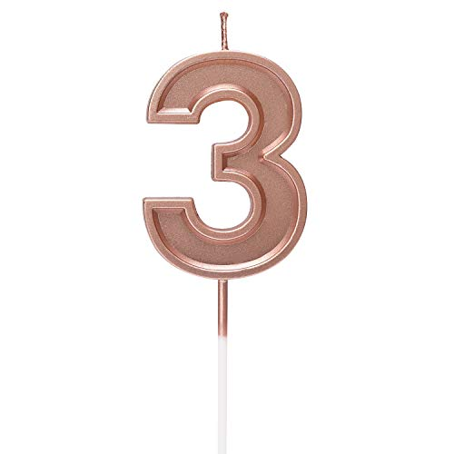 AOSTAR Birthday Candles Number, Rose Gold Glitter Numeral Candle...