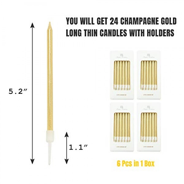 Aplusplanet 24 Count Champagne Gold Birthday Cake Candles, Metal...