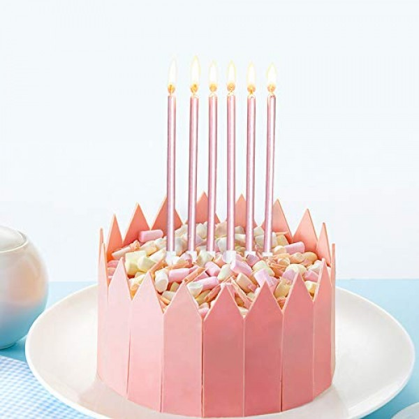 Aplusplanet 24 Count Pink Birthday Candles, Metallic Long Thin P...
