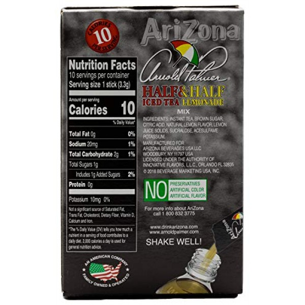 AriZona Arnold Palmer, Half & Half Iced Tea Lemonade Tea Stix, 1...