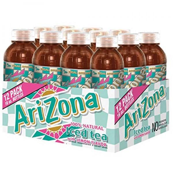 Arizona Tea, Premium Brewed Lemon Bottled Tea, 16 Ounce Bottles,...