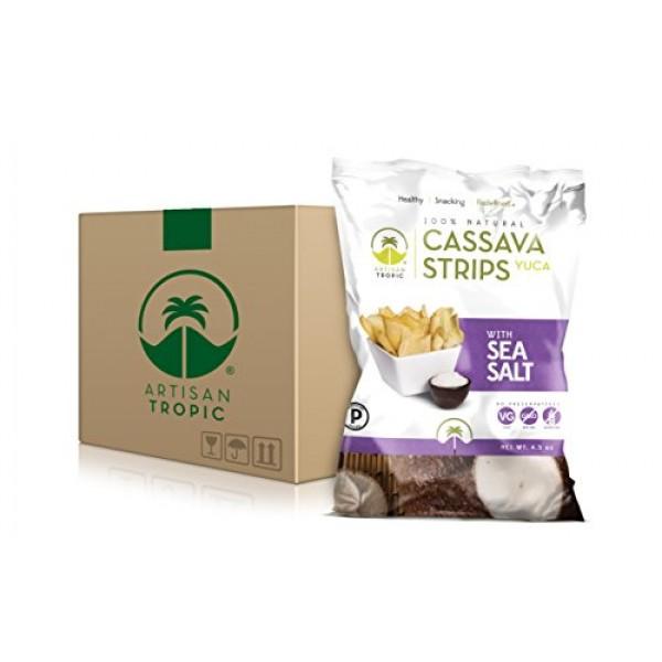 Artisan Tropic Cassava Yuca Strips: Sea Salt 4.5oz 12 Pack