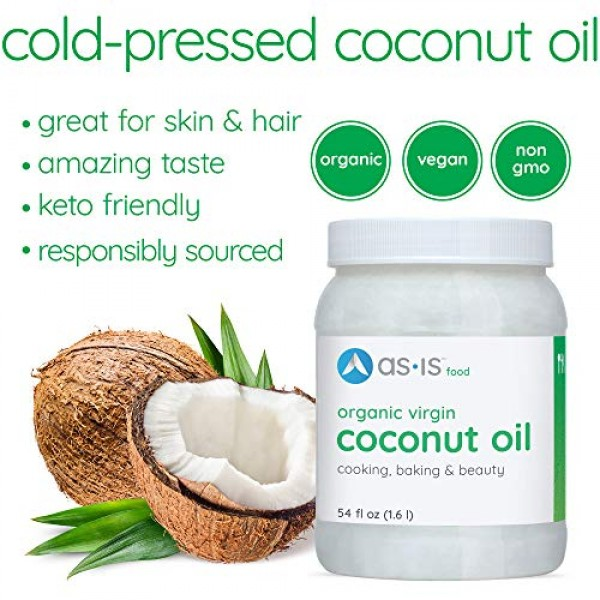 54 fl oz, Cold-Pressed, Organic Virgin Coconut Oil for Cooking, ...