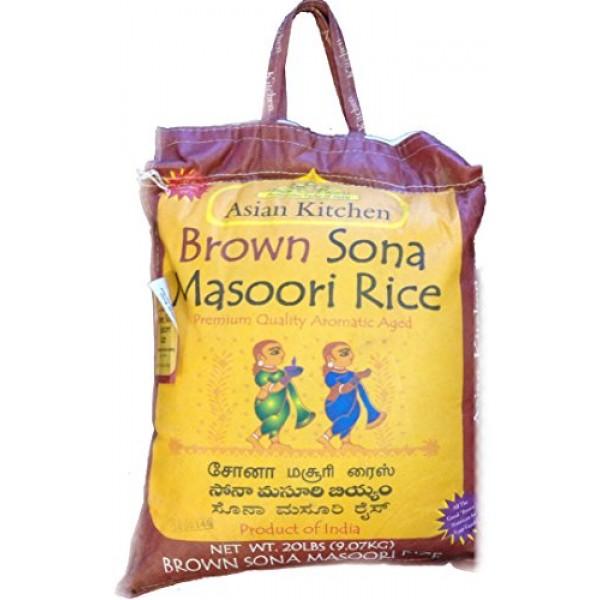 Asian Kitchen Brown Sona Masoori Aged Rice 20lbs Pound Bag 9.08...