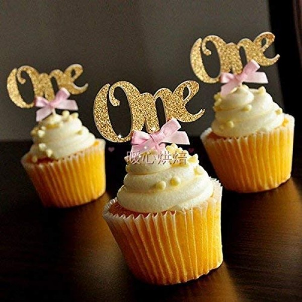 Astra Gourmet 24PCS Glitter Gold One Cupcake Topper Pink Bow 1st...