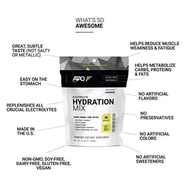 ATAQ All-Natural Electrolyte Hydration Mix, Lemonade, Hydra 4G M...