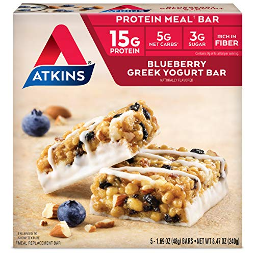 Atkins Protein-Rich Meal Bar, Blueberry Greek Yogurt, 5 Count