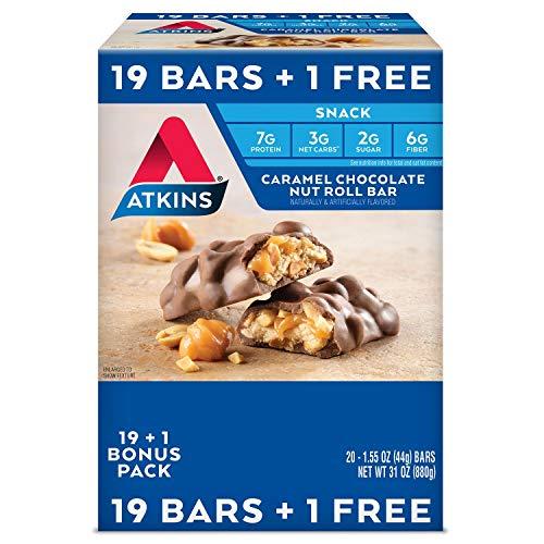 Atkins Snack Caramel Chocolate Nut Roll Pack 19 + 1 Bonus Bar T...
