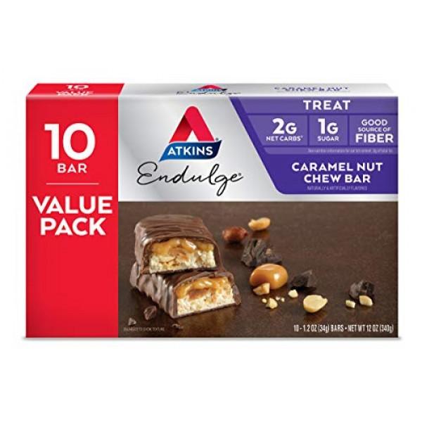 Atkins Endulge Treat, Caramel Nut Chew Bar, Keto Friendly, 10 Co...