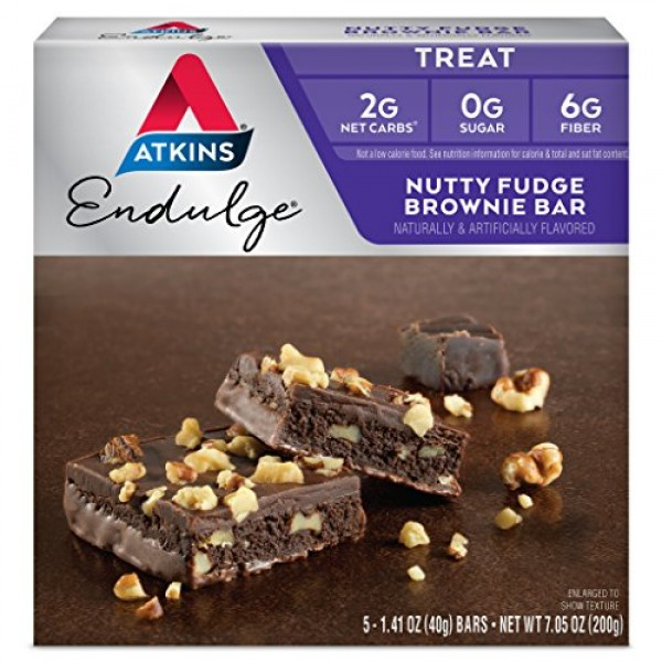 Atkins Endulge Treat, Nutty Fudge Brownie Bar, Keto Friendly, 5 ...