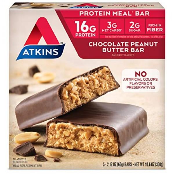 Atkins Advantage Bars, Chocolate Peanut Butter, 5 Count