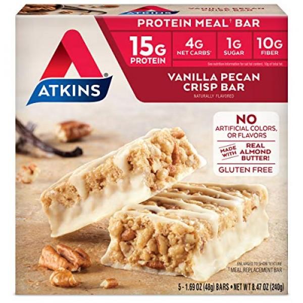 Atkins Protein-Rich Gluten Free Meal Bar, Vanilla Pecan Crisp, 5...