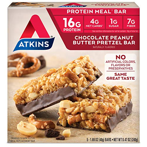 Atkins Protein Meal Bar, Chocolate Peanut Butter Pretzel, 5 Count