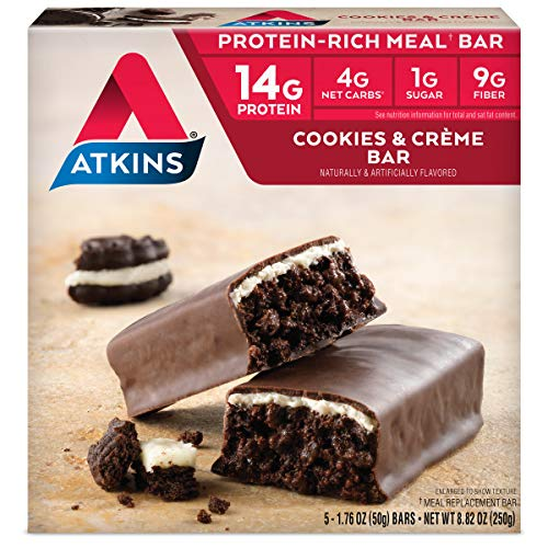 Atkins Protein-Rich Meal Bar, Cookies n Crème, Keto Friendly, 5...