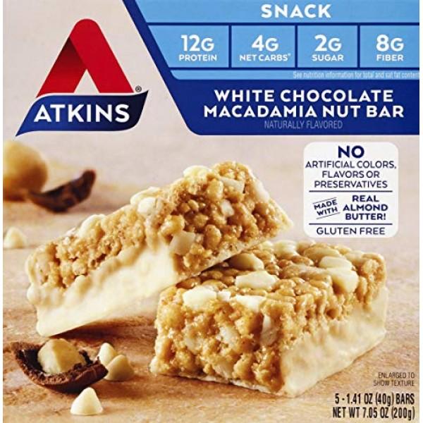 Atkins Snack White Chocolate Macadamia Nut Bar, 8 Ounce