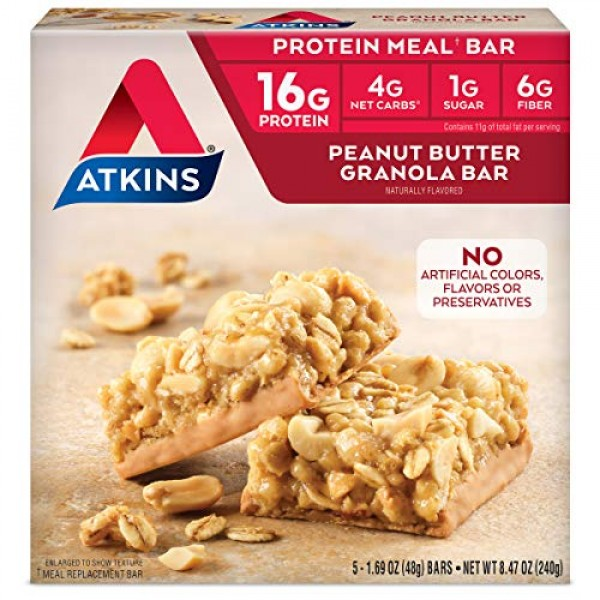 Atkins Protein-Rich Meal Bar, Peanut Butter Granola, 5 Count, Pa...